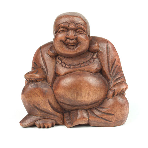 Small Hand Carved Wooden Laughing Buddha
