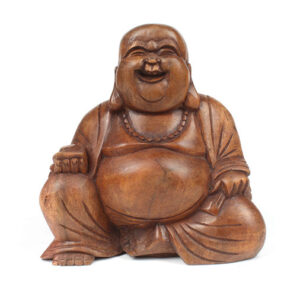 Large Hand Carved Wooden Laughing Buddha