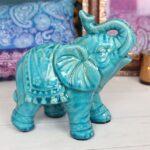 Blue Ceramic Elephant