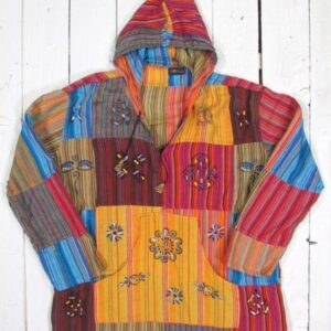 Patchwork Hooded Top with Hand Painting and Block Printing