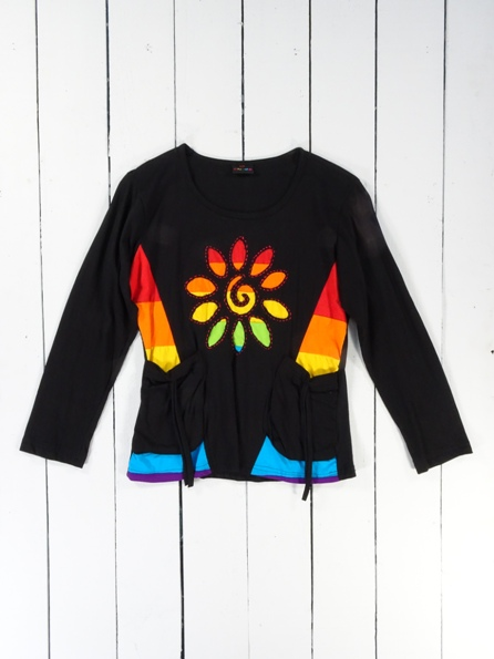 Rainbow Flower on Black Long Sleeve Top