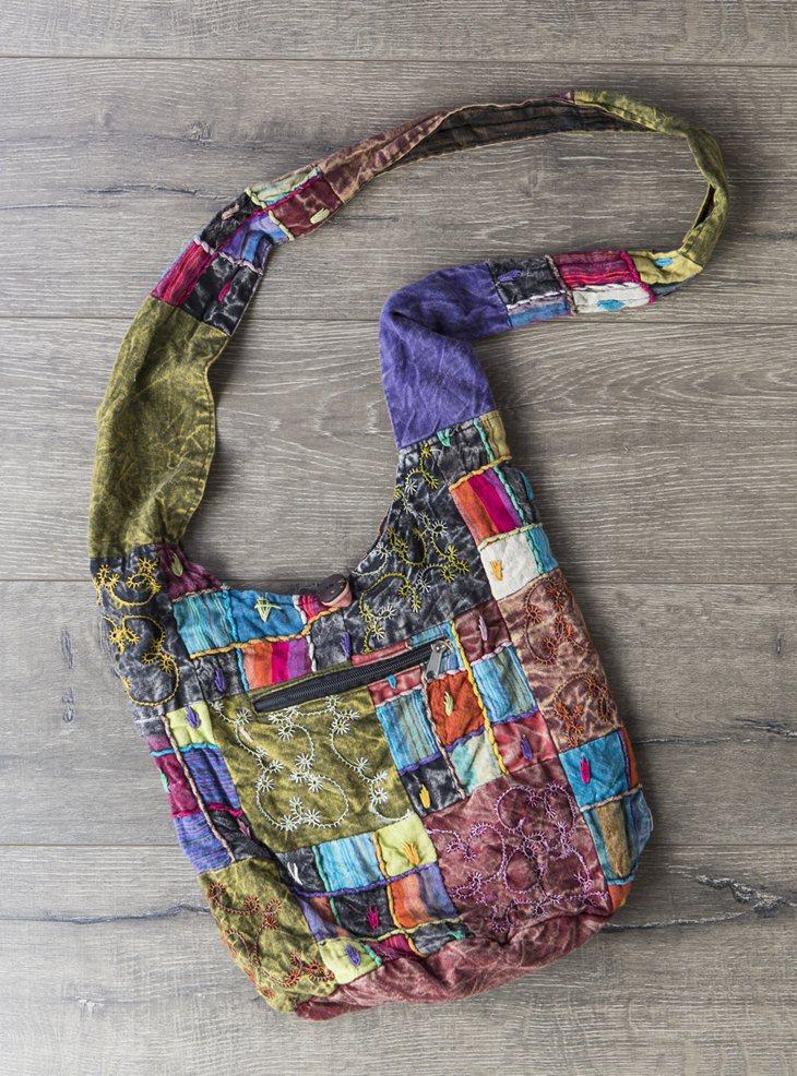 Embroidered Patchwork Shoulder Bag
